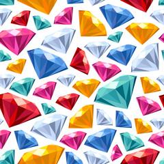 Seamless gemstones pattern on white.