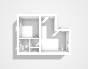 3d rendering of apartment walls without furnishings