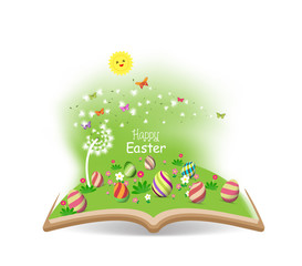 easter egg spring with dandelion in the book