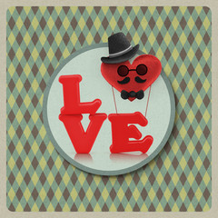 Love heart air balloon man character on vintage background