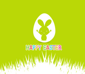 Happy easter cards illustration with easter bunny inside egg