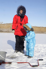 Winter fishing with mom
