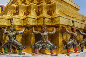 Giant stand around pagoda of thailand at wat prakeaw