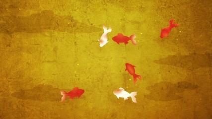 金屏風に金魚