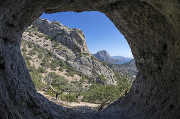 View from inside a small cave.Crimea.