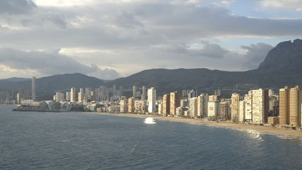 panoramic view of the city of Benidorm in Alicante, Spain