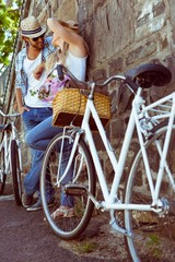 Cute couple with their bikes