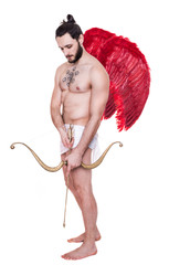 Sexy adult Cupid. Valentine, Archangel