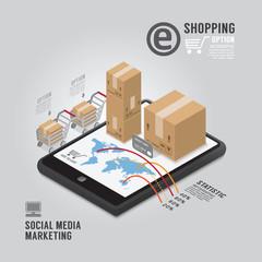 Infographic Social Media Marketing template design . concept vec