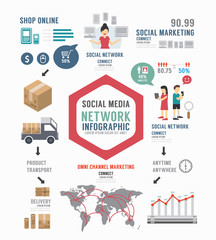 Infographic Social Business template design . concept vector ill
