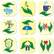 Ecological symbols and signs of human's hands