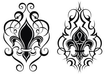 Black royal fleur de lis flowers.Tattoo