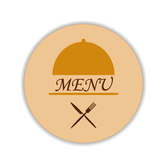 Restaurant label with cloche and flatware