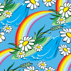 seamless vector background with spring rainbow and chamomiles