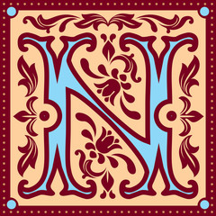 vector image of letter N in the old vintage style