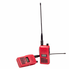 Red radio communication on white background