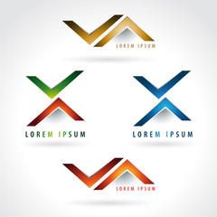 Letter X and arrow shape logo