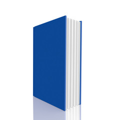 Blue  book on white background