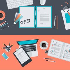 Flat design concepts for creative project and business