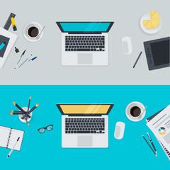 Set of flat design illustration concepts for workspace