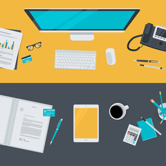 Flat design concepts for business, finance, e-commerce