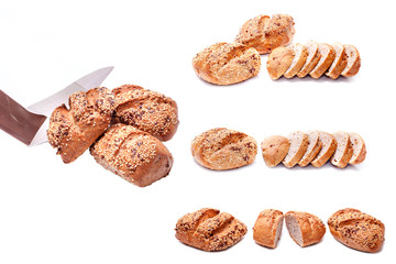 Bread and paper bags isolated on white background