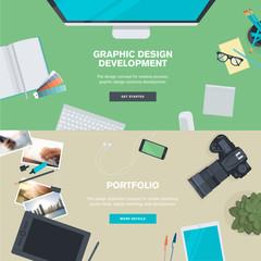 Flat design concepts for graphic design and portfolio