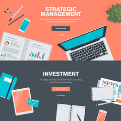 cFlat design concepts for strategic management and investment.