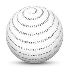 Mathematik, Kugel, Pi, Kreiszahl, Mathe, Spirale, 3.14159, Ball