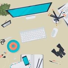 Set of flat design illustration concept for business workspace