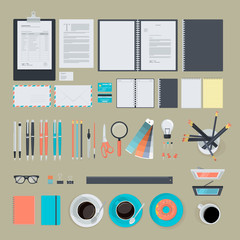 Set of flat design items for business, marketing, graphic design