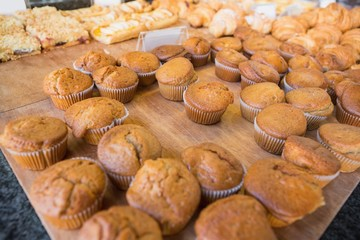 Close up of muffins on counter
