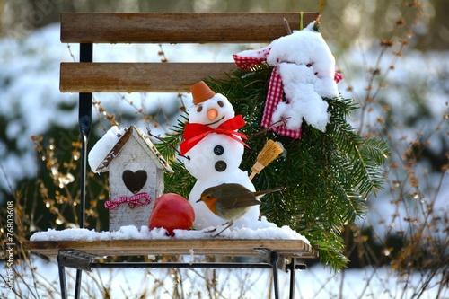 Leinwanddruck Bild Garten im Winter
