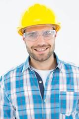 Confident repairman wearing protective glasses