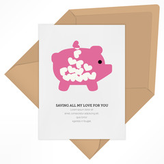 saving all my love for you concept with heart piggy bank illustr