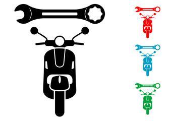 Pictograma reparacion de escuter en varios colores.