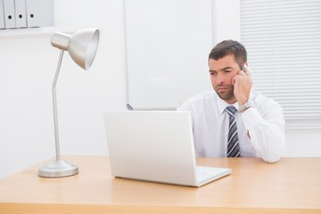 Businessman on the phone using his laptop at desk