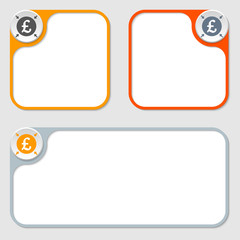 set of three vector frames and pound sterling symbol