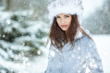 Young woman winter portrait. Shallow dof.
