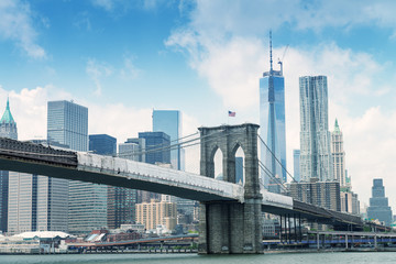 Brooklyn Bridge with Manhattan on background