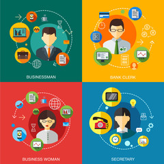 Business customers service and support concept flat icons set of