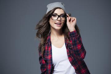 Trendy, stylish, confident and happy
