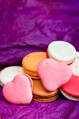 French colorful macarons with hearts