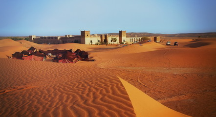 A moroccan desert scenery with sand dunes, desert grass plantati
