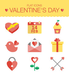Cute set of icons for Valentines day, wedding, love and romantic