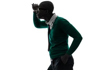 african black man looking away worried silhouette