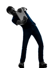man gaming video game digital tablet  silhouette