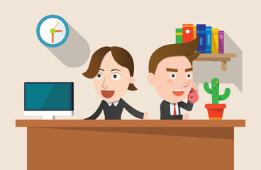 Business corporation telemarketing concept flat character