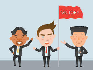 Business corporation victory concept flat character