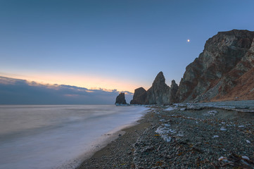 Early frosty morning on the beach at Cape Four Rocks.